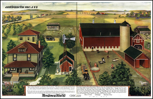 From the 1917 Coverall Paint Catalog::A Montgomery Ward Kit House Farm