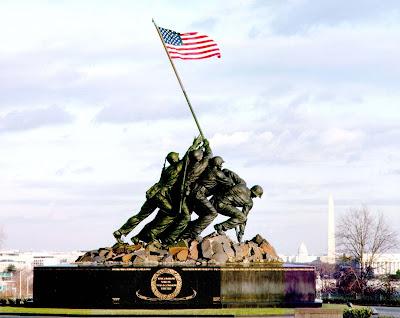 Bronze memorial of Iwo Jima flag raising