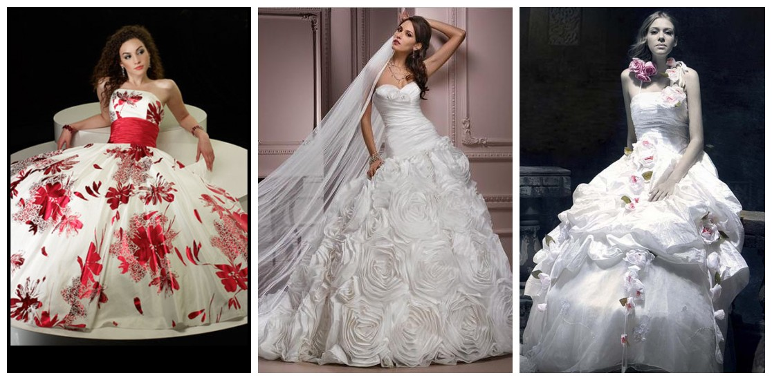 ball gowns with floral accents