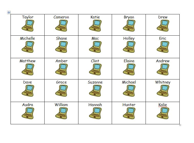 Table seating chart template 2