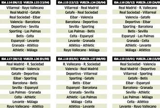 Spain La Liga 2015 - 2016 calendar