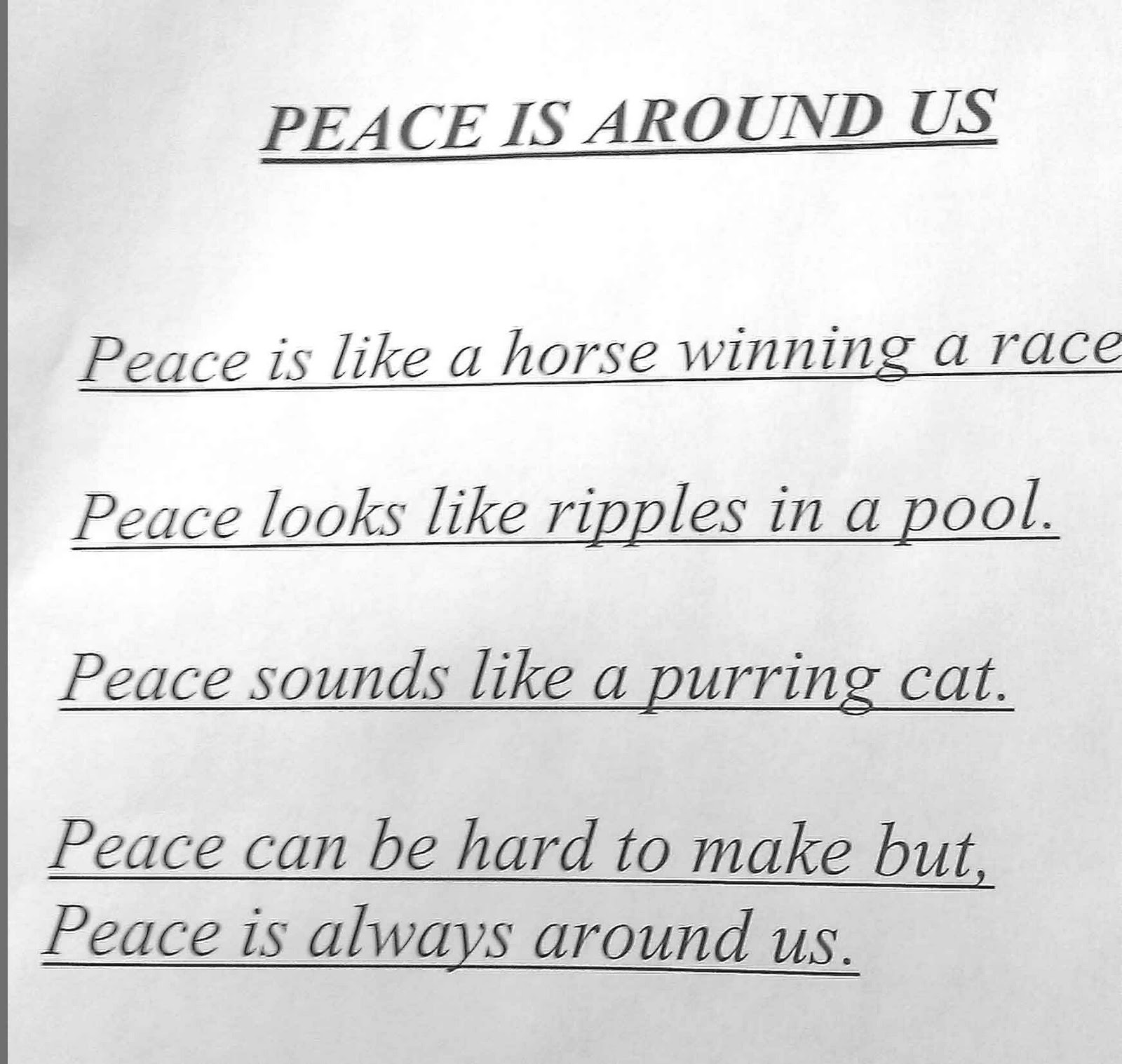 Tempo and Speed: Peace Poem