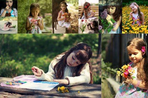 Tributo a la infancia VI (fotos de niñas, flores y frutas)