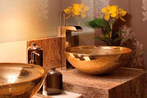 Construindo Minha Casa Clean Banheiros e Lavabos Decorados com Cubas Douradas! -> Cuba Para Banheiro De Vidro Oval