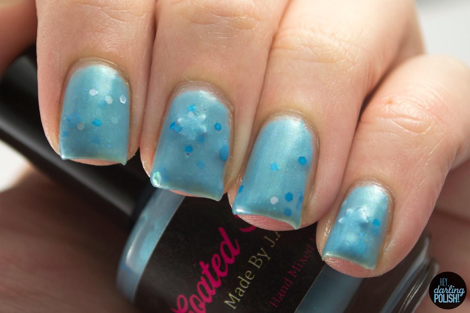 nails, nail polish, polish, indie, indie polish, coated in polish, let it snow, blue, hey darling polish