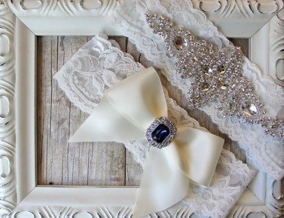 Crystal Wedding Garter White