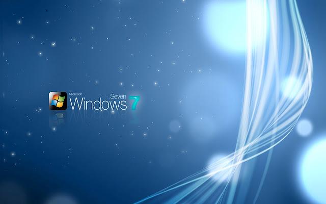 Abstracte Windows 7 achtergrond met lichtgevende strepen en lijnen
