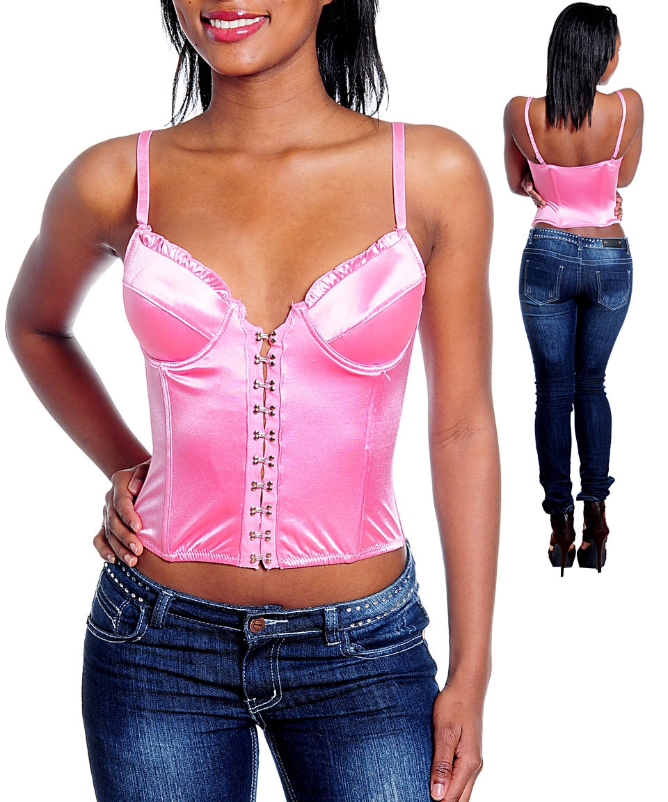 Corset tops are meant to tighten through the use of rear laces or front steel busk closure clasps, while bustier tops are considered to be a fancier shapewear bra combination that helps to smooth out your midsection and offer some support for breasts.
