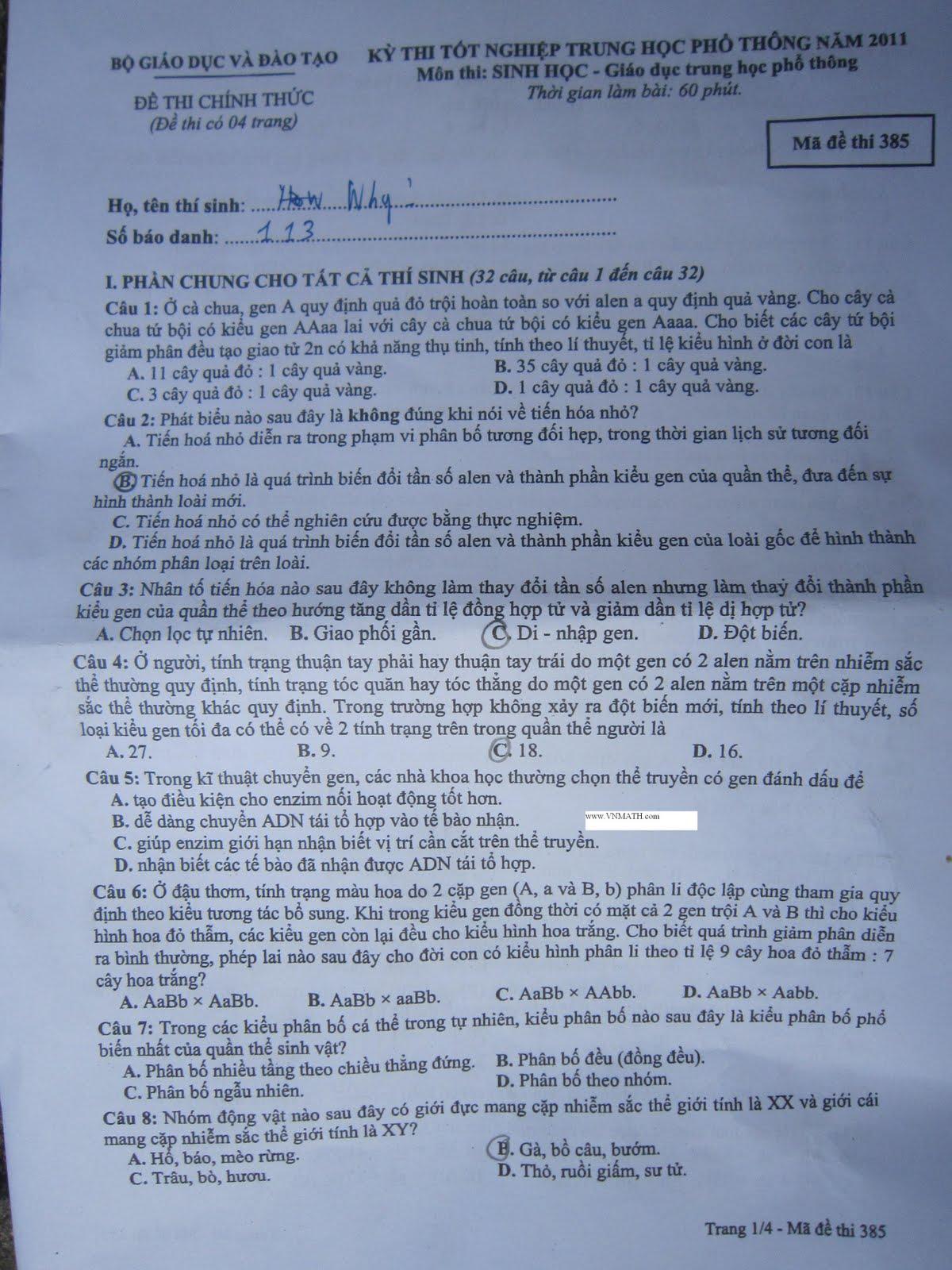 Đáp án tốt nghiệp thpt 2011 môn sinh – Mã 385