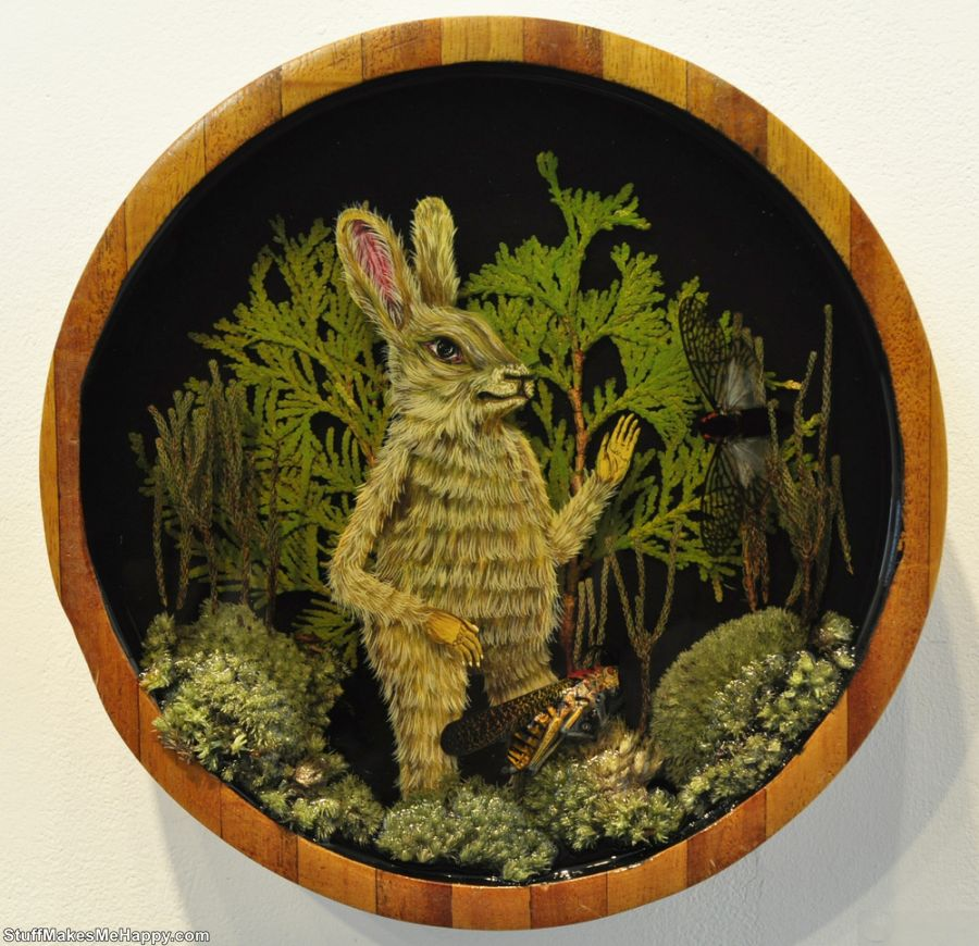 Dioramas in Bowls, Artist Drew Mosley Illustrating the Forest Magic