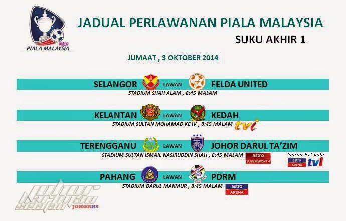 Jadual Siaran Langsung Piala Malaysia Suku Akhir Pertama 3 Oktober 2014