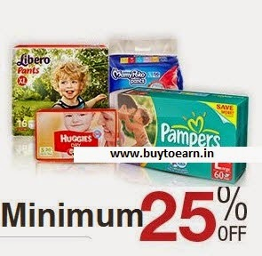 shop now Diapers minimum 25% off to 39% off + Free shipping from Rs. 105 @ Amazon
