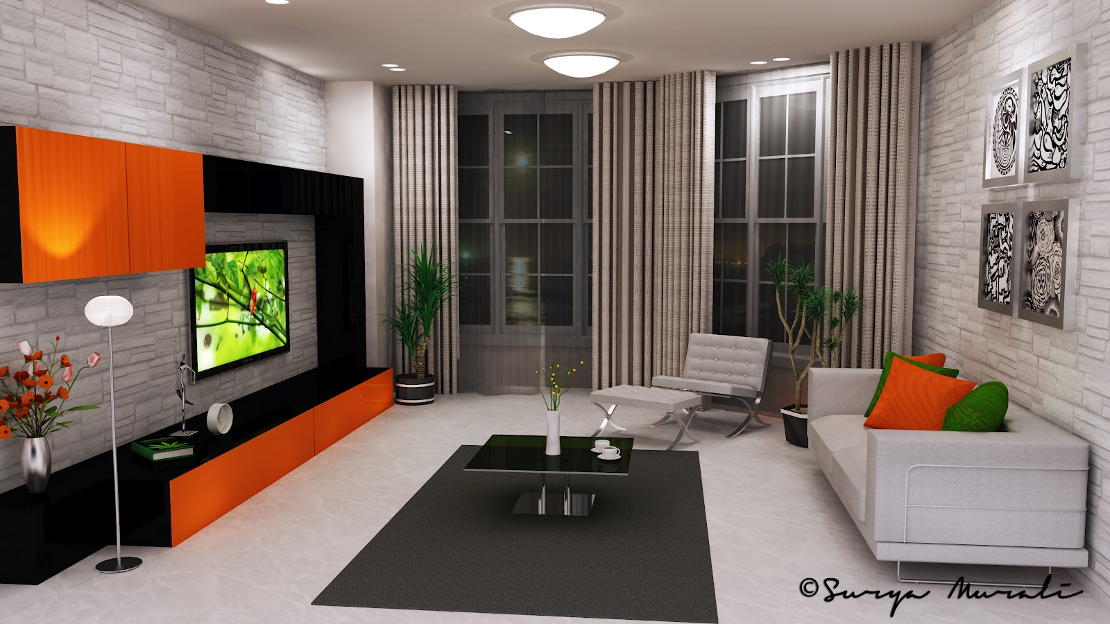 Color Quartet Living Room - Night Time | My World In Three Dimensions!