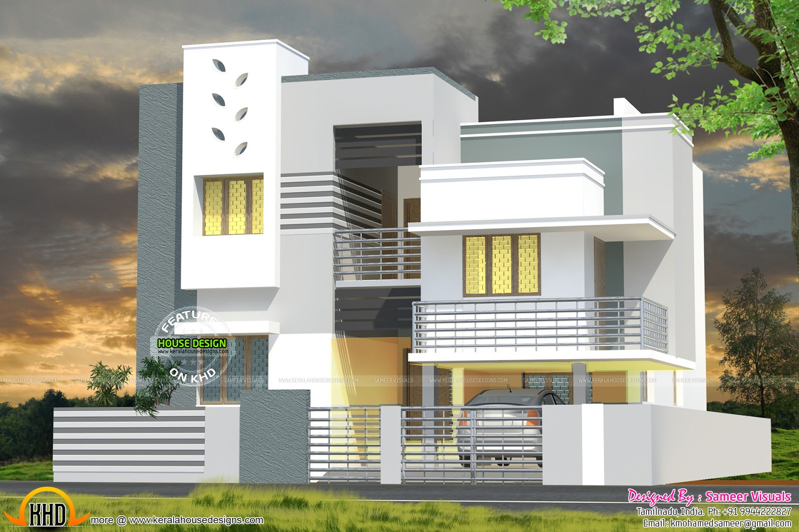 Modern house design 3000 sq ft kerala home design and for Tamilnadu home design photos