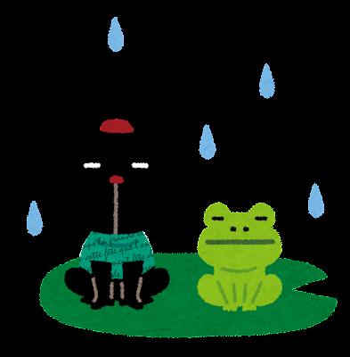 雨の日のカエルのイラスト(ぴょこ)