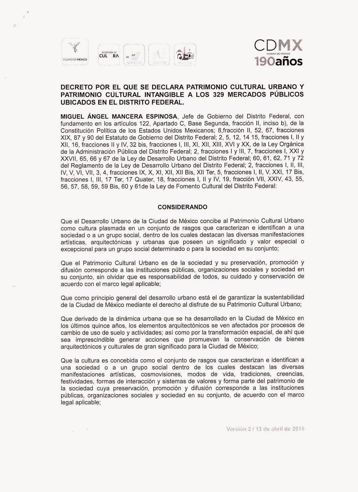 DECRETO PARA LOS 329 MERCADOS PÚBLICOS DEL DISTRITO FEDERAL