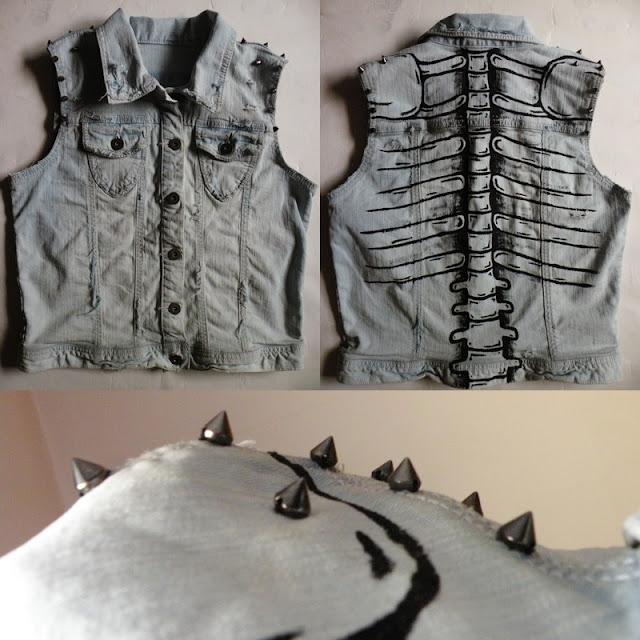 diy kamizelka kolce szkielet jeans moda blogerska hand made