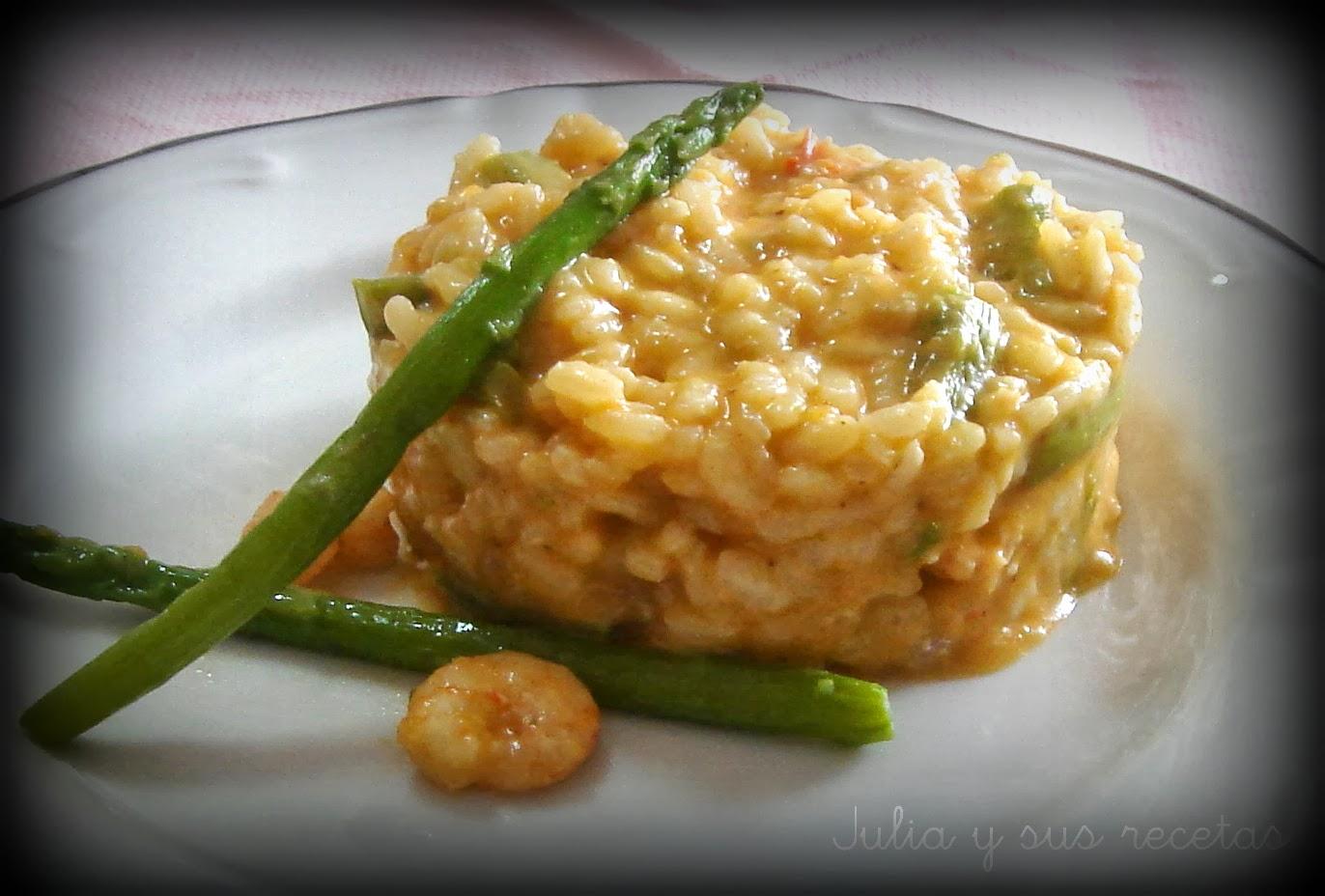 Julia y sus recetas risotto de esp rragos y gambas - Comidas con esparragos ...