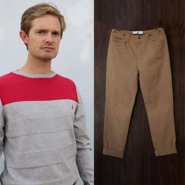 Ma Bicyclette - Buy Handmade - Clothing For Men - Anthony & Brown - Grey/Red Jumper & Khaki Chinos