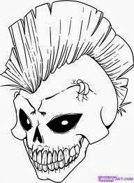 skull coloring pages 1 - Halloween Skeleton Coloring Pages
