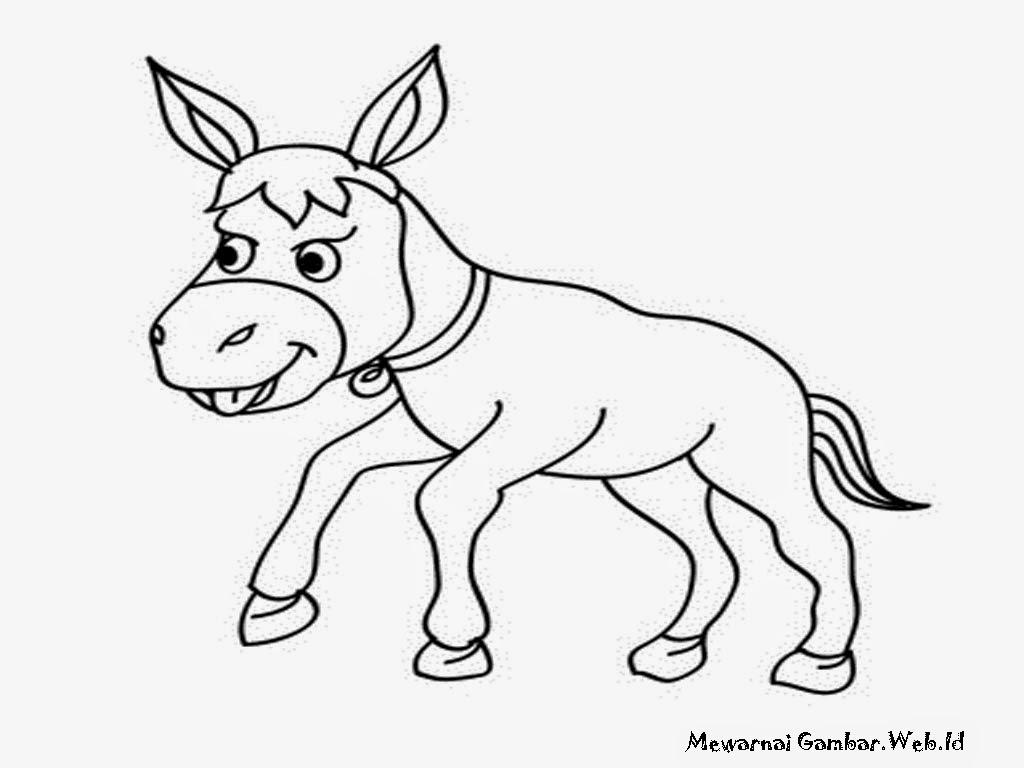 gambar anak keledai untuk mewarnai