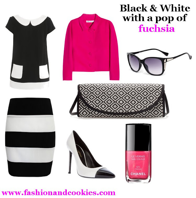 black and white outfit with a pop of fuchsia, Fashion and Cookies