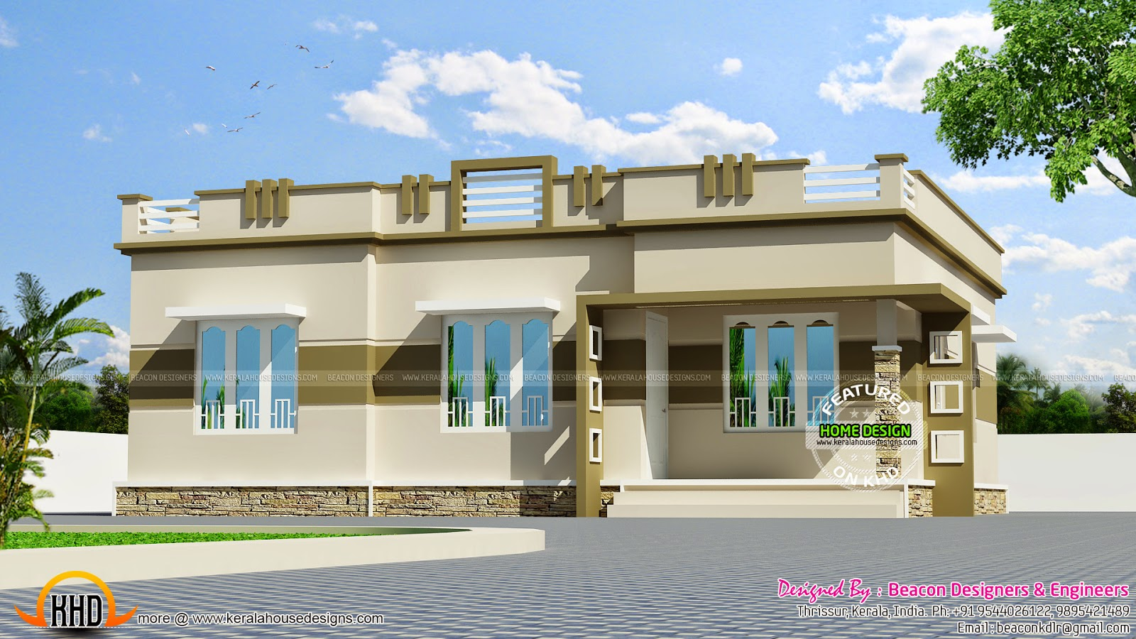 March 2015 kerala home design and floor plans for One level house exterior design