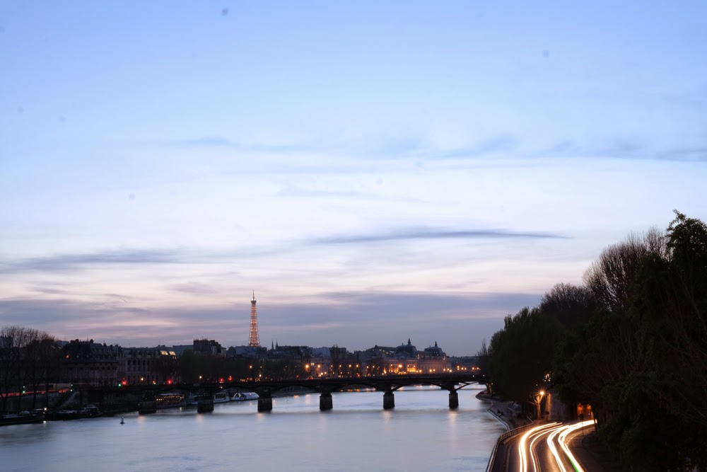 River Seine and Eiffel Tower at night