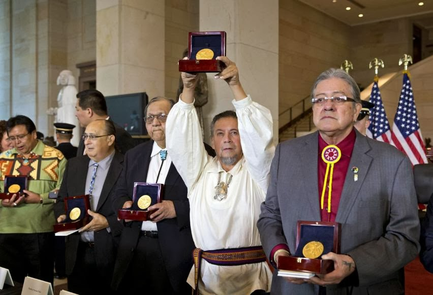 Congressional Gold Medal Code Talkers ceremony http://worldwartwo.filminspector.com/2013/08/code-talkers.html