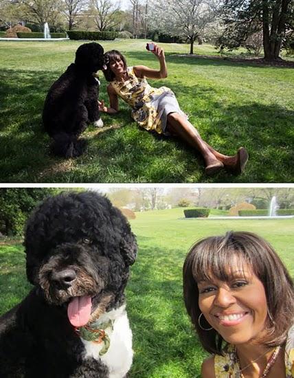 Просто чудный селфшот от Мишель Обамы с псом по кличке Sunny, и не скажешь, что на фото первая лэди США