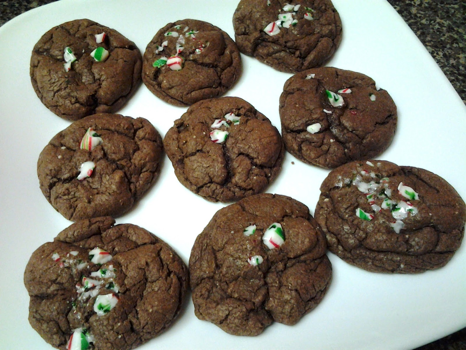 Chocolate cake mix cookies with candy canes