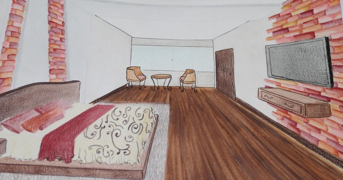 Dibujo perspectiva y color habitaci n hotel for Habitacion dibujo