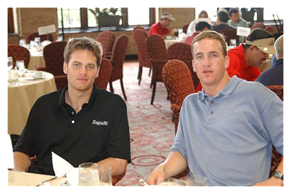 Photo of Peyton Manning & his friend American Football player  Tom Brady -