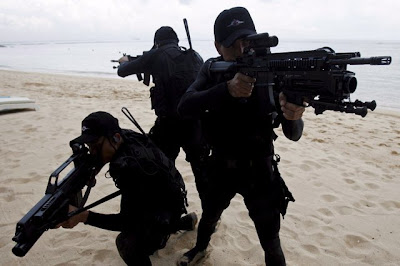 Marine troops with HK416 and G36 rifles.