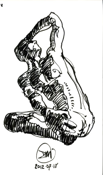 Pen and ink sketch of sitting male by David Meldrum