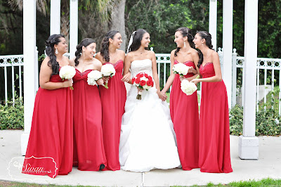 red wedding theme bridesmaids