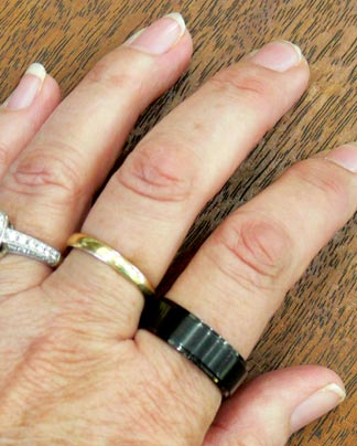 I Wear It On The Index Finger Of My Left Hand; Next To My Motheru0027s Simple  Gold Wedding Band On My Middle Finger, And My Own Wedding Ring On My Ring  Finger.