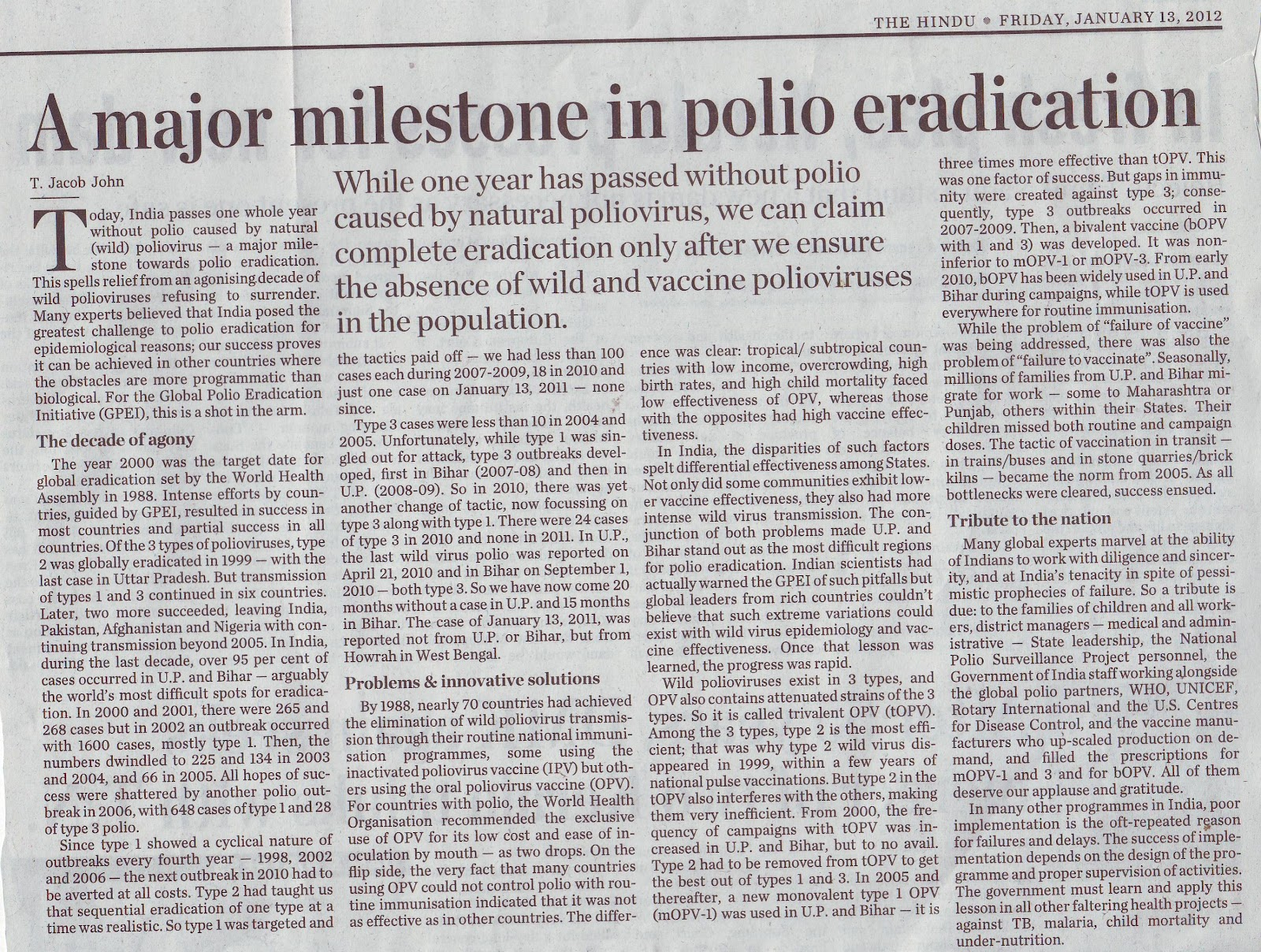polio essay Poliomyelitis the alternative name for poliomyelitis is polio or infantile paralysis polio is a disease, which affects the nerves and may cause paralysis.