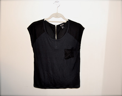 H&M Black Top with Exterior Zipper