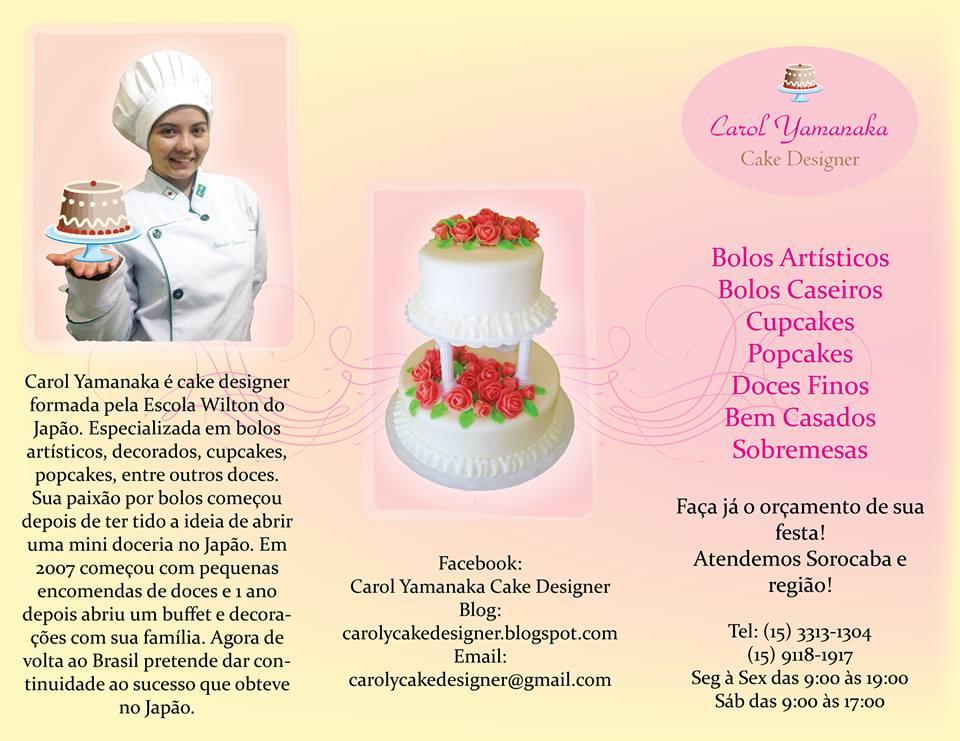 Super Carol Yamanaka Cake Designer: Cartão de visita, folders, um pouco  WI65