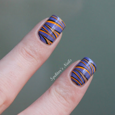 Halloween Water Marble Nails