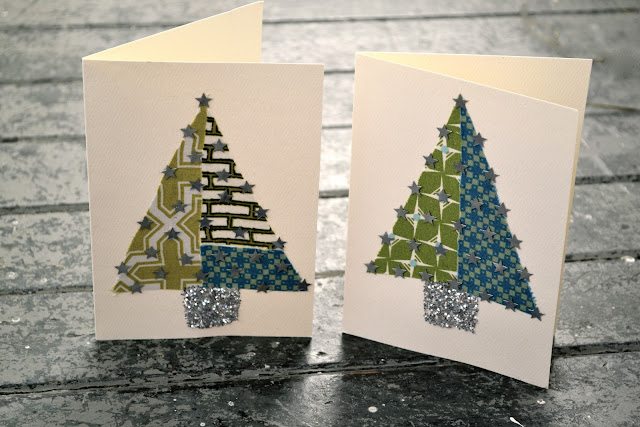 fabric christmas cards glitter