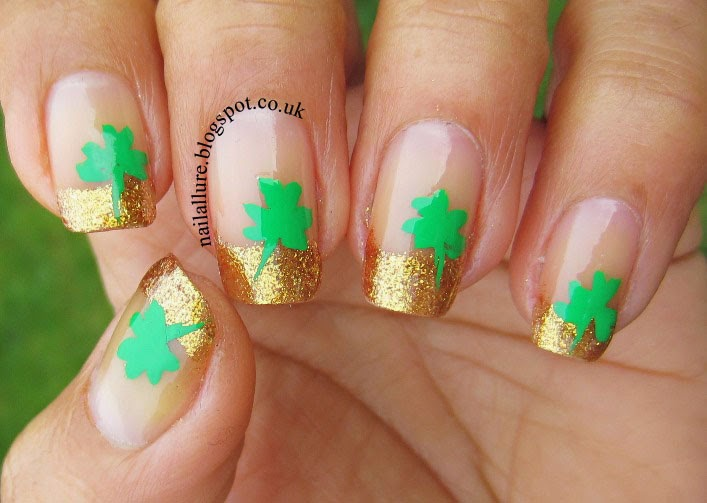Shamrocks on Gold French Tips