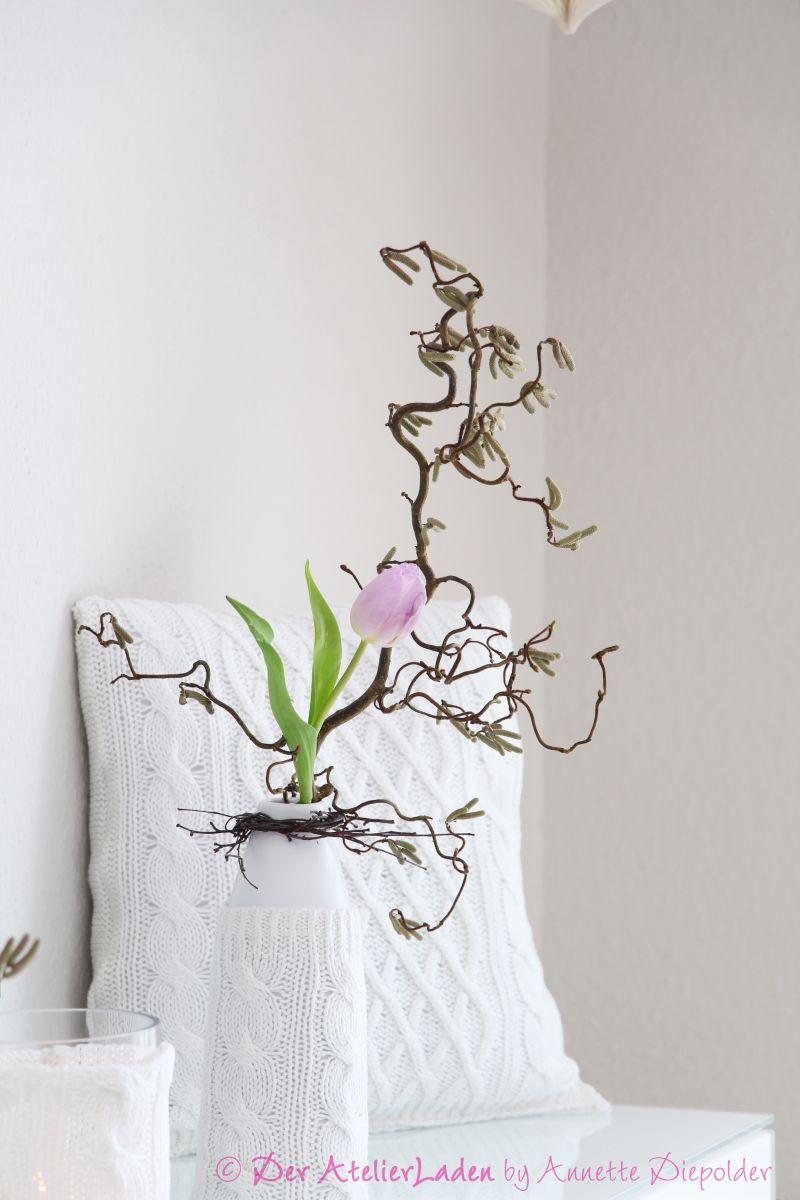 Pullover upcycling vase huelle ueberzug DIY selbstgemacht nähen basteln