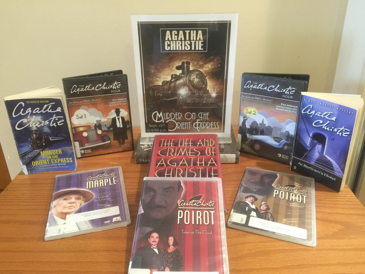 display of Agatha Christie books