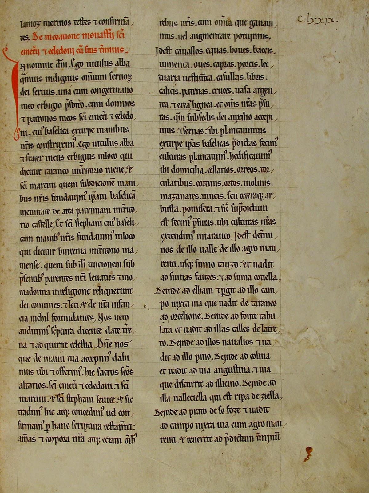 Diploma Taranco de Mena, año 800