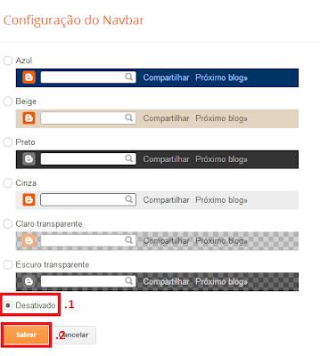 Retirar Navbar Blogger