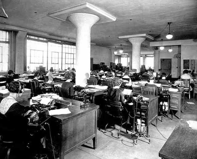 Interior, Bureau Of Engraving, Minneapolis, MN, 1925. Stenographers Are  Transcribing Using Dictating Machines And Typewriters.