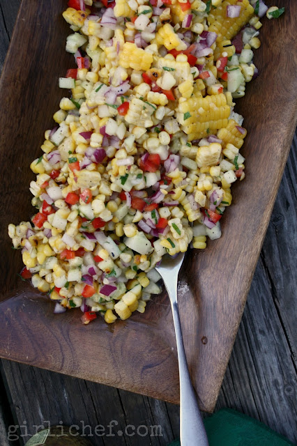 Grilled Corn Salad w/ Honey-Lime Dressing