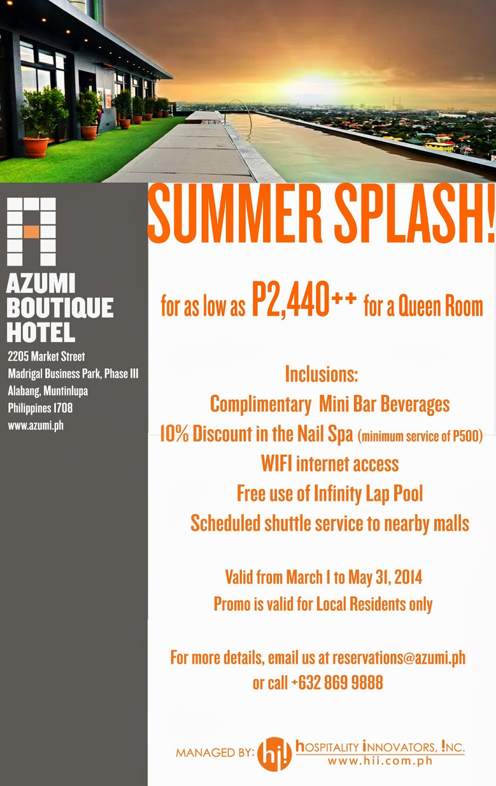 Splash into summer with azumi boutique hotel 39 s amazing for Boutique hotel reservations